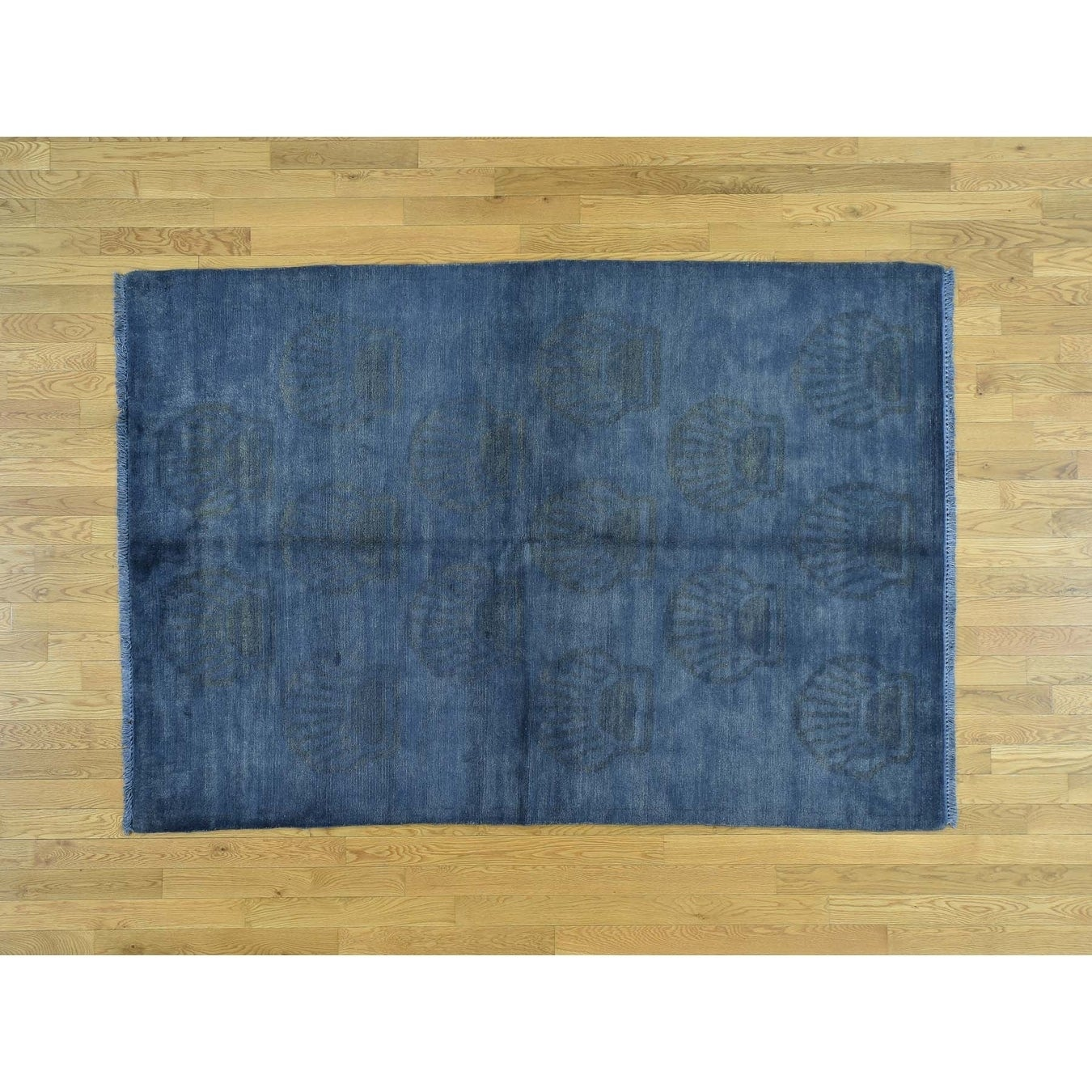 Hand Knotted Blue Overdyed & Vintage with Wool Oriental Rug - 53 x 78