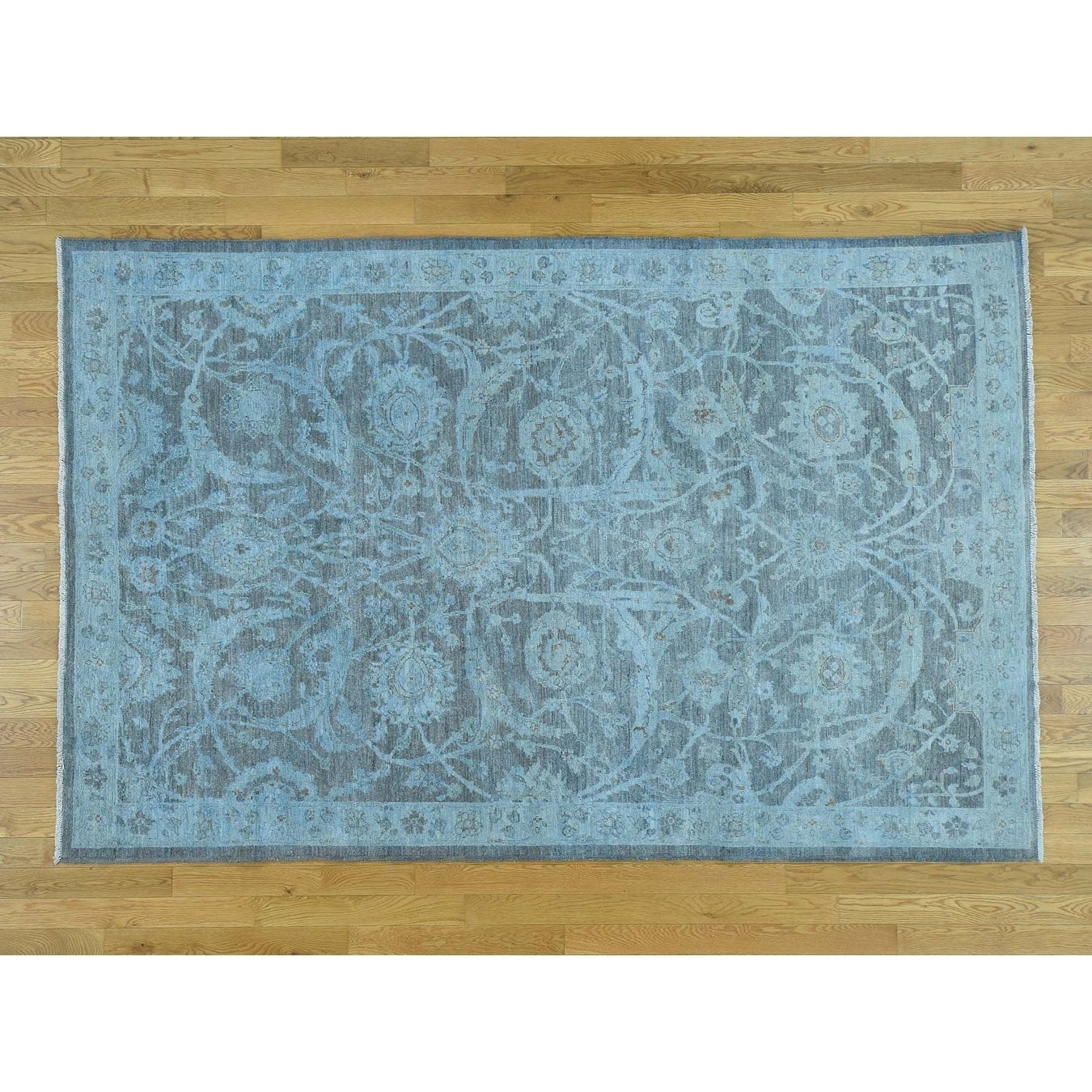 Hand Knotted Grey White Wash Vintage & Silver Wash with Wool Oriental Rug - 59 x 9