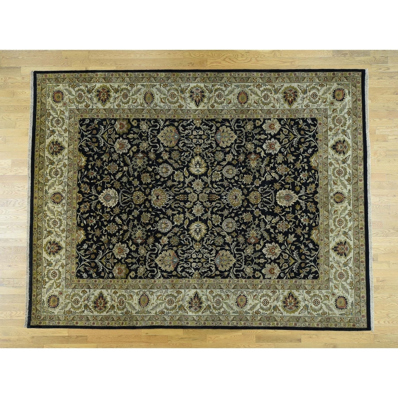 Hand Knotted Black Fine Oriental with New Zealand Wool Oriental Rug