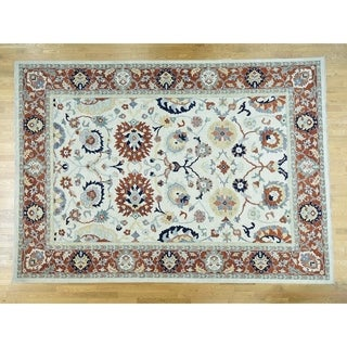 Hand Knotted Ivory Oushak And Peshawar with Wool Oriental Rug - 9'1 x 12'1