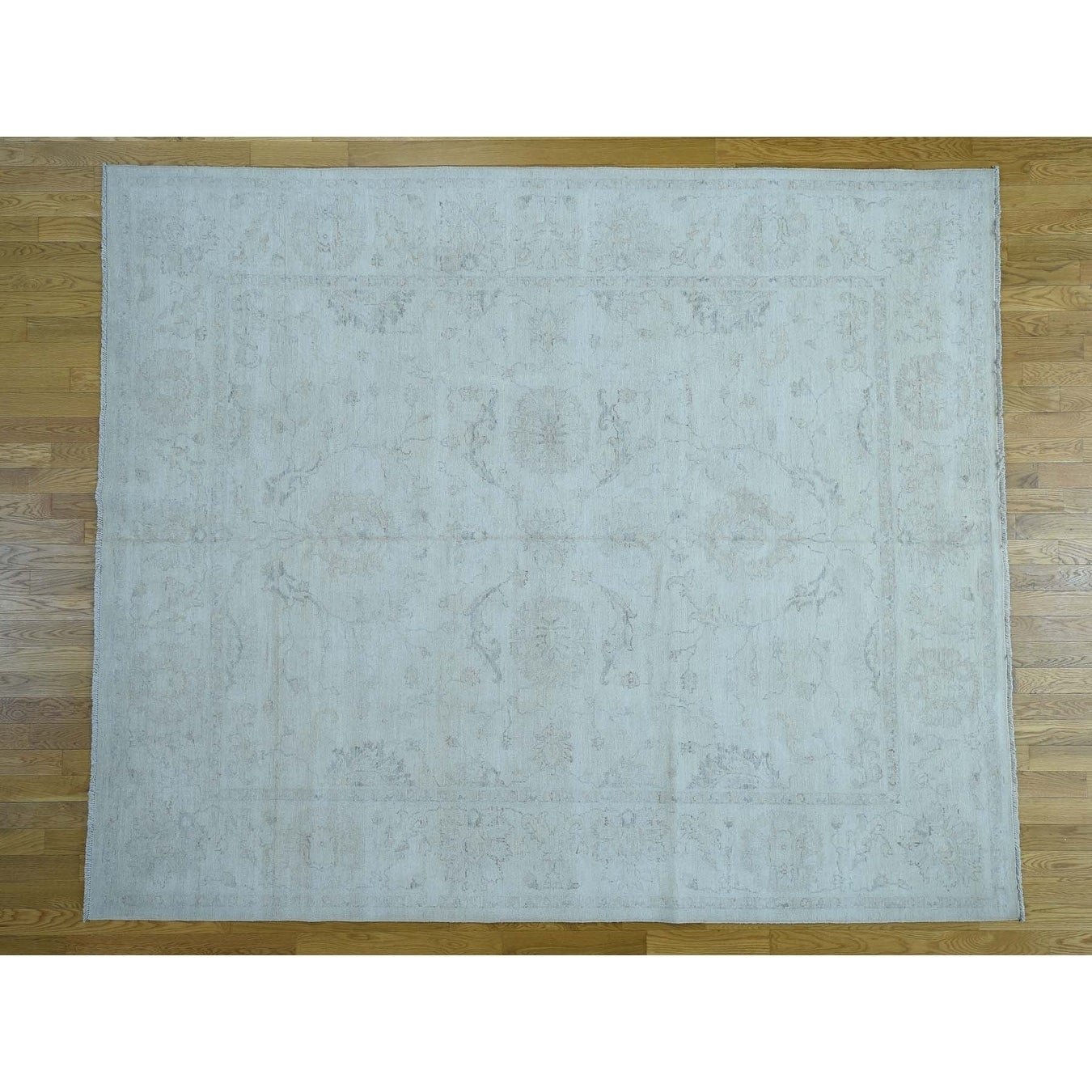 Hand Knotted Ivory White Wash Vintage & Silver Wash with Wool Oriental Rug - 8 x 99