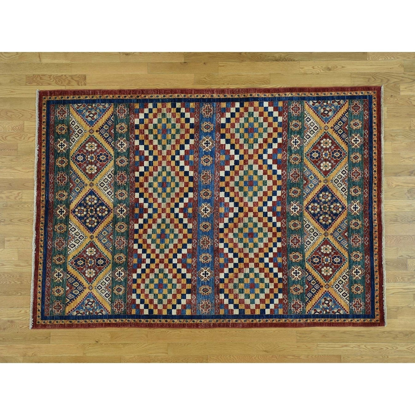 Hand Knotted Multicolored Kazak with Wool Oriental Rug - 57 x 8