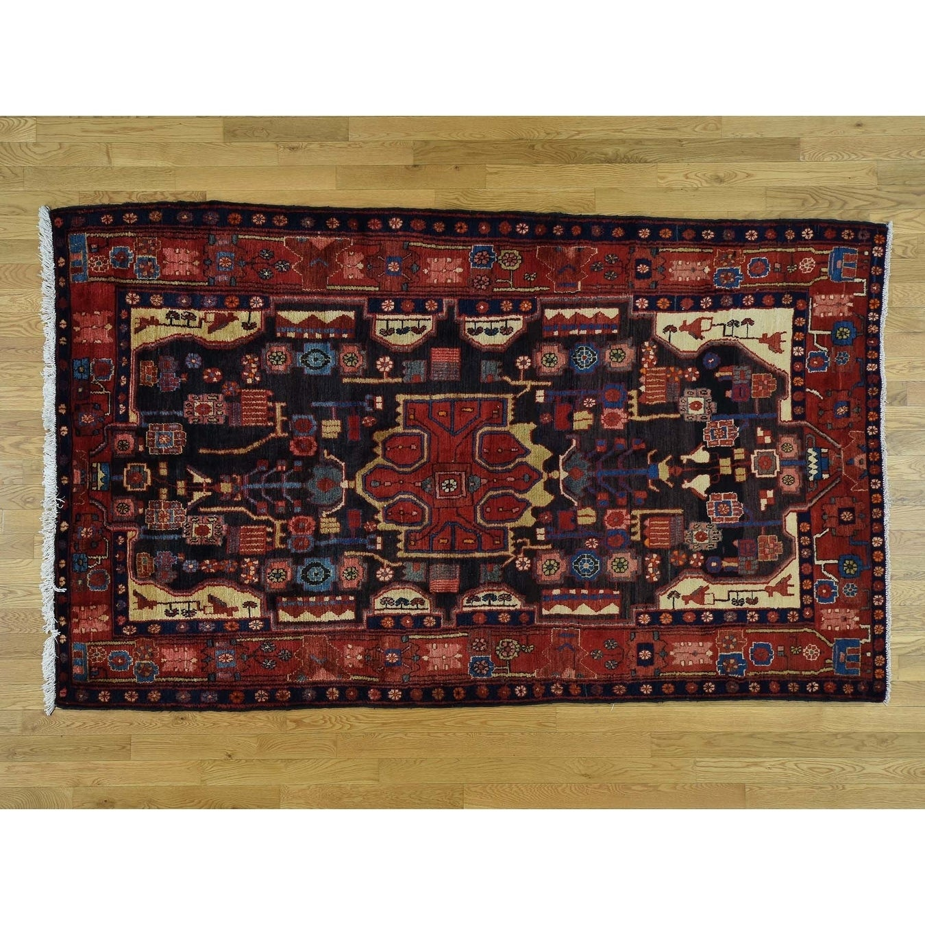 Hand Knotted Black Persian with Wool Oriental Rug - 53 x 91