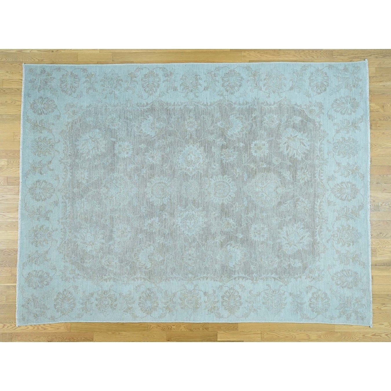 Hand Knotted Grey White Wash Vintage & Silver Wash with Wool Oriental Rug - 710 x 105