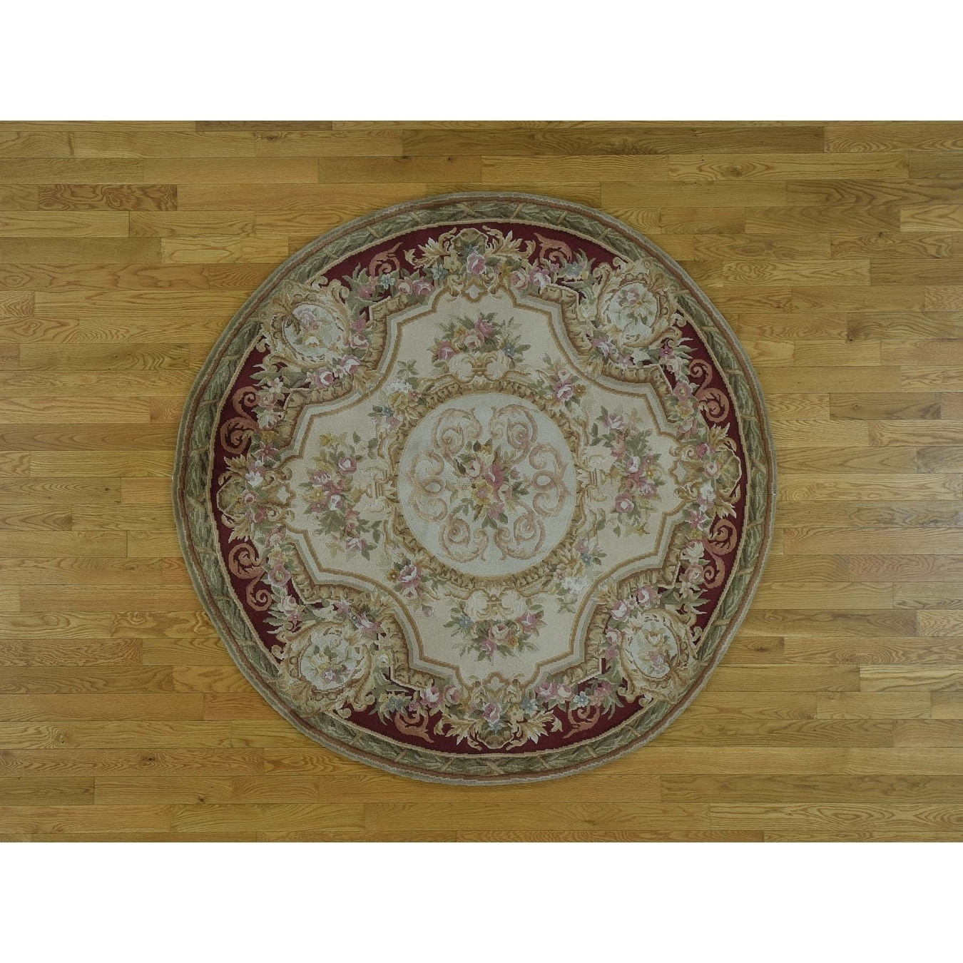 Hand Knotted Beige European with Wool Oriental Rug - 6 x 6