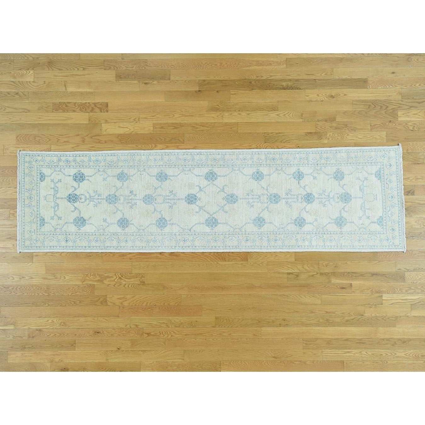 Hand Knotted Ivory Khotan and Samarkand with Wool Oriental Rug - 27 x 98