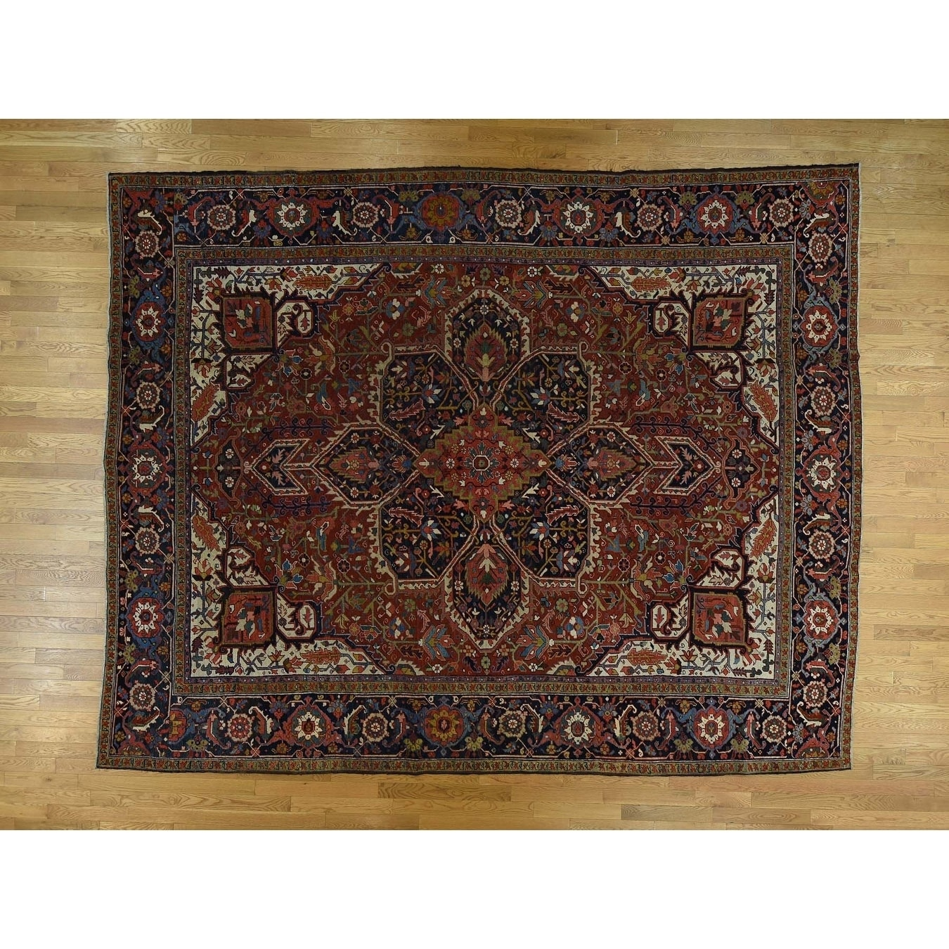 Hand Knotted Red Antique with Wool Oriental Rug - 107 x 135