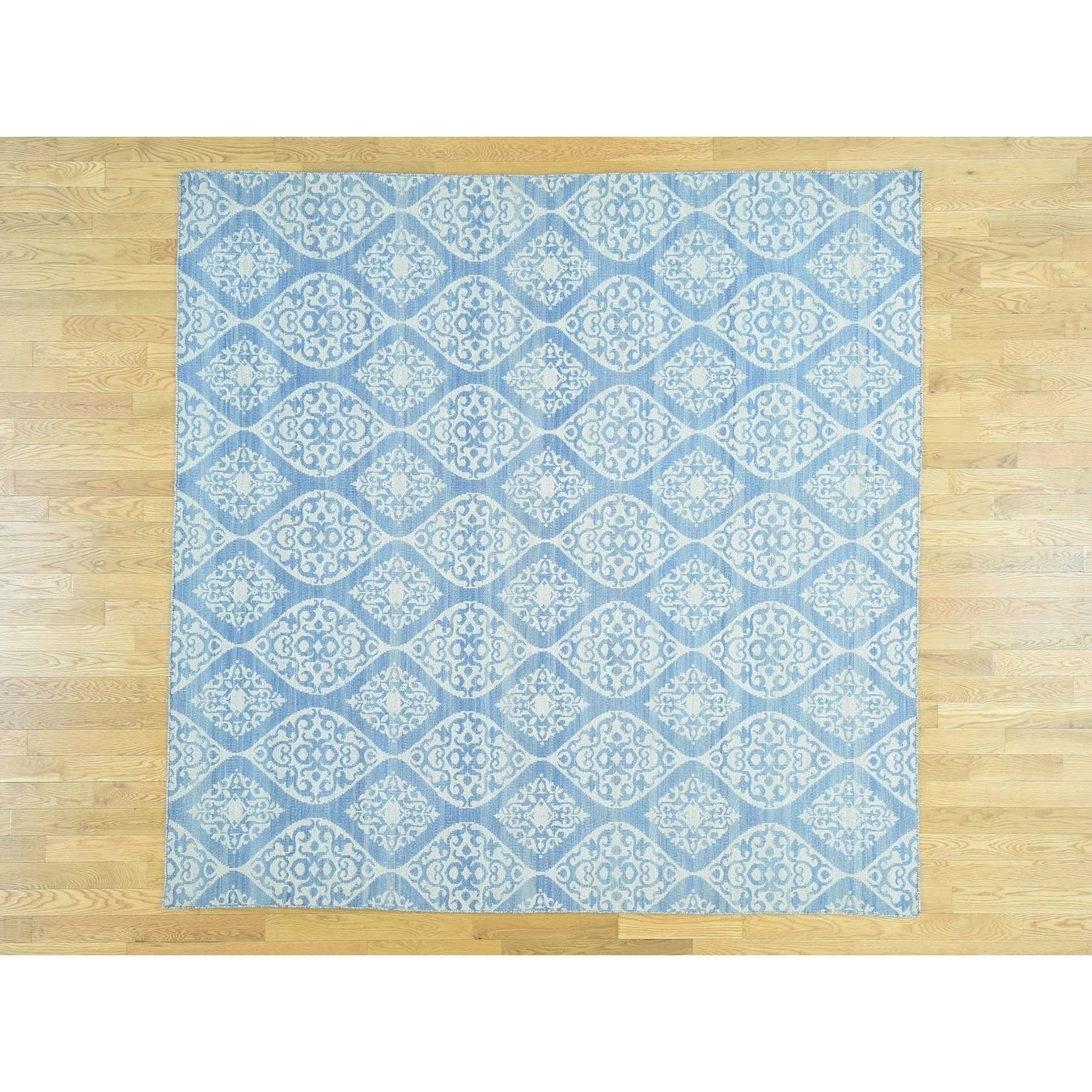 Hand Knotted Ivory Flat Weave with Wool Oriental Rug - 910 x 10