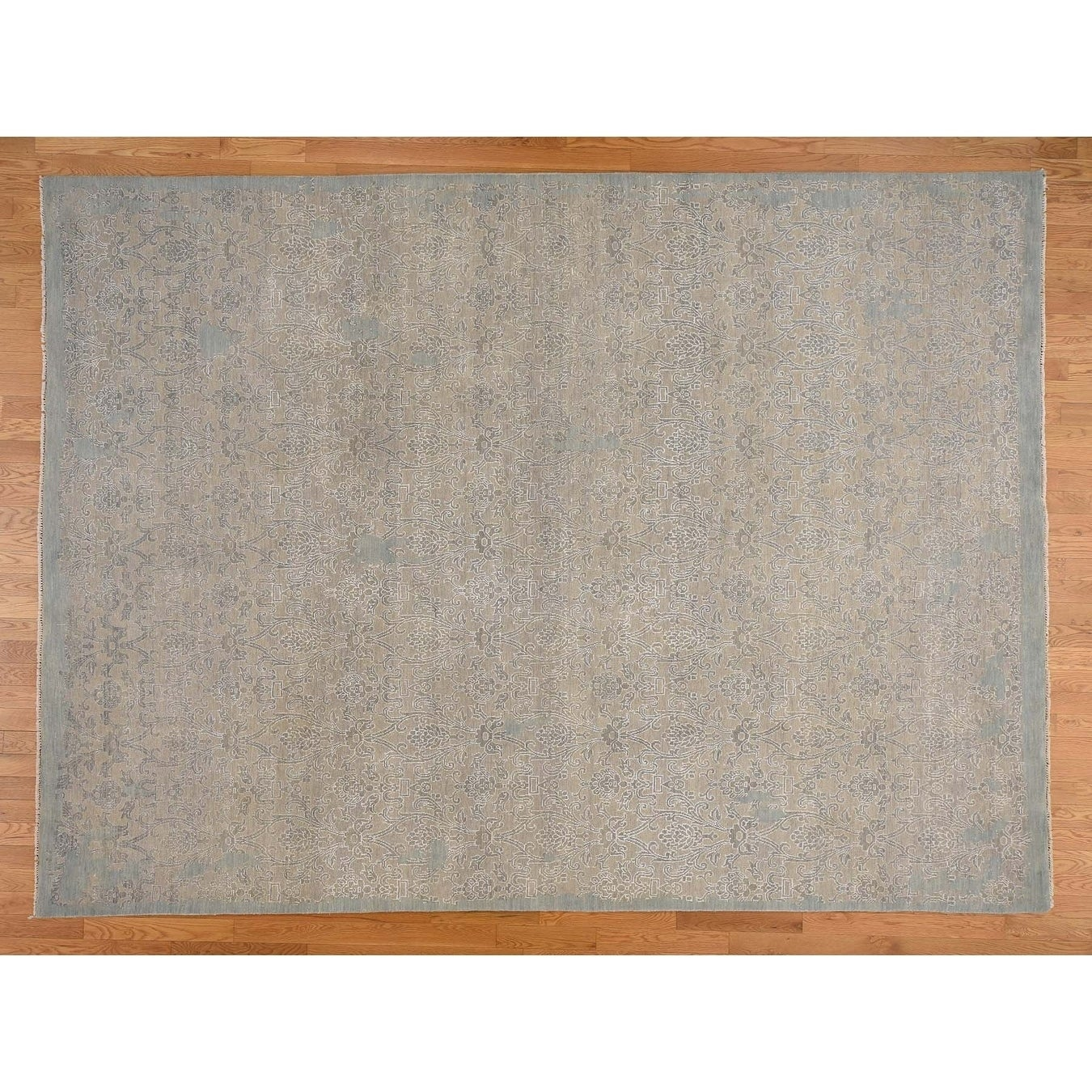 Hand Knotted Grey Oushak And Peshawar with Wool & Silk Oriental Rug - 9 x 122