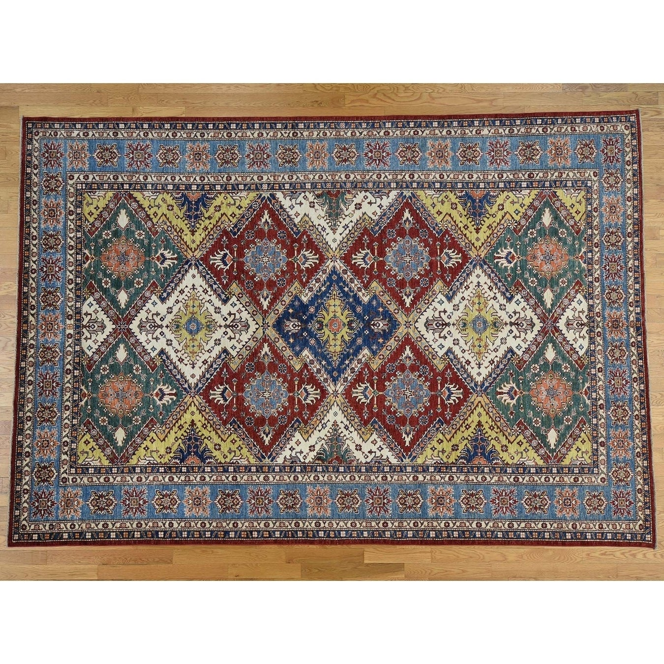 Hand Knotted Multicolored Kazak with Wool Oriental Rug - 87 x 124