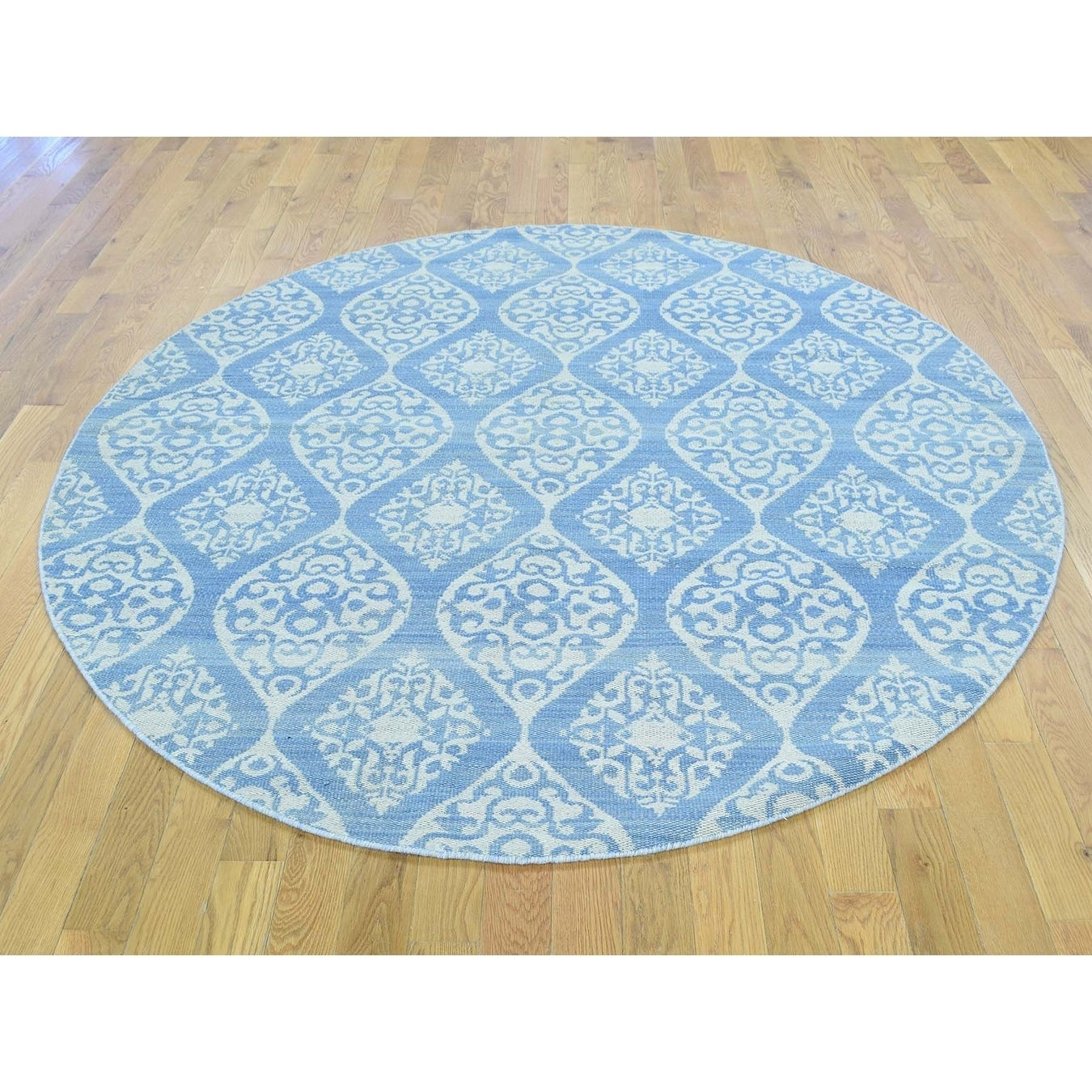 Hand Knotted Ivory Flat Weave with Wool Oriental Rug - 6 x 6
