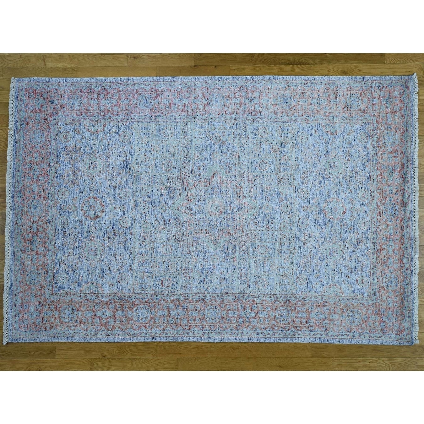 Hand Knotted Blue Mamluk with Silk Oriental Rug - 6 x 9