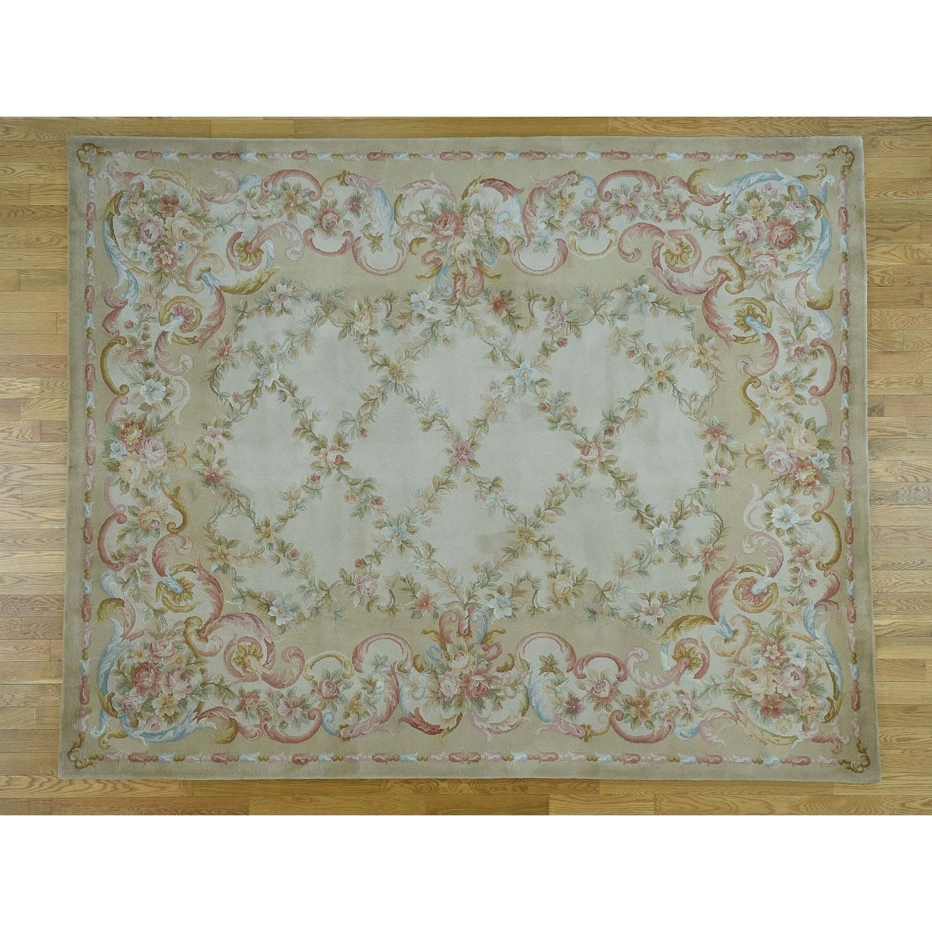 Hand Knotted Beige European with Wool Oriental Rug - 12 X 18