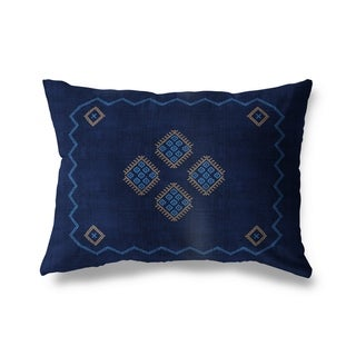 Kilim Navy Lumbar Pillow By Becky Bailey