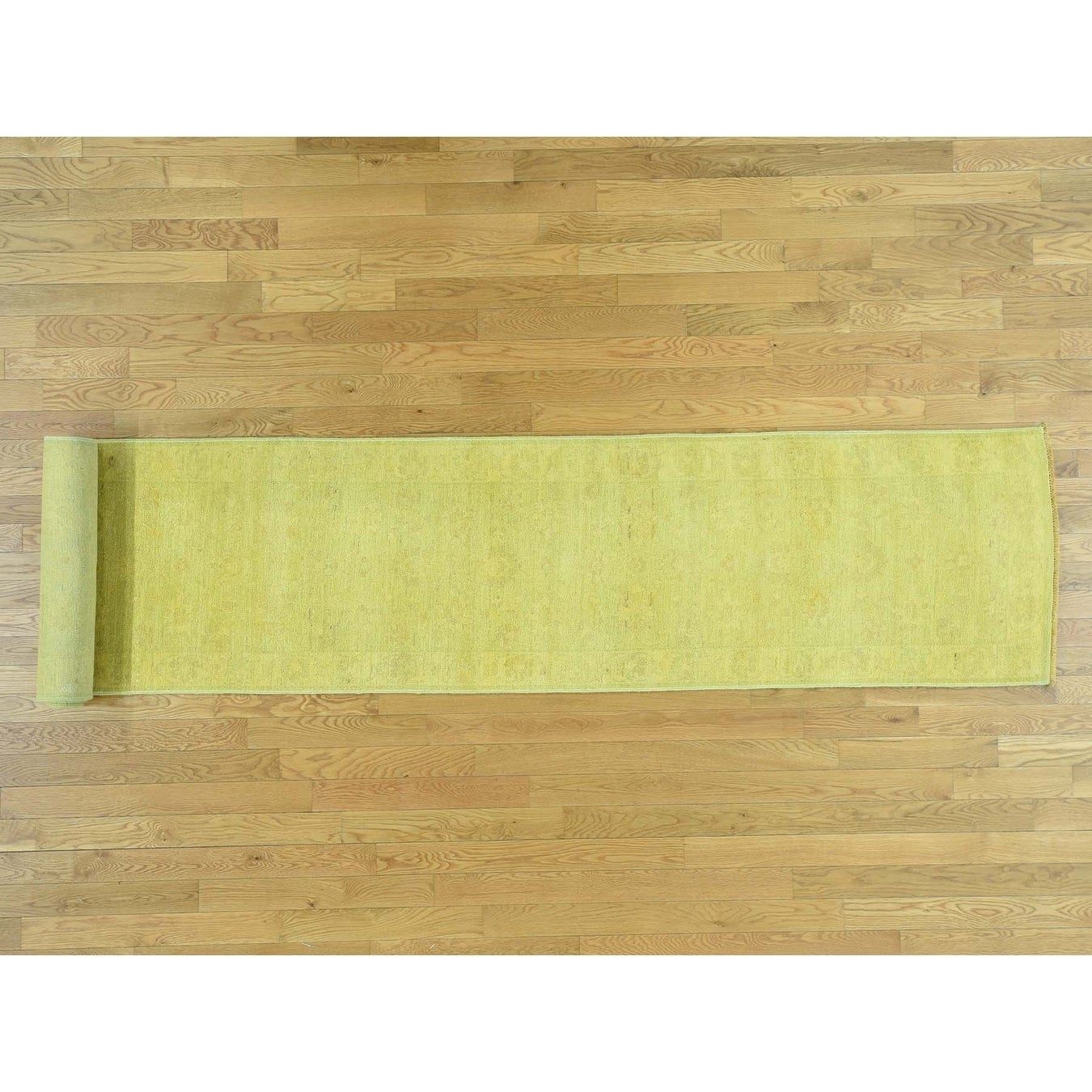 Hand Knotted Yellow Overdyed & Vintage with Wool Oriental Rug