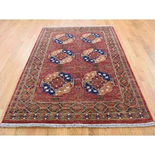 Hand Knotted Red Tribal & Geometric with Wool Oriental Rug - 4'1 x 6'2