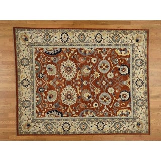 Hand Knotted Red Oushak And Peshawar with Wool Oriental Rug - 9'1 x 12'