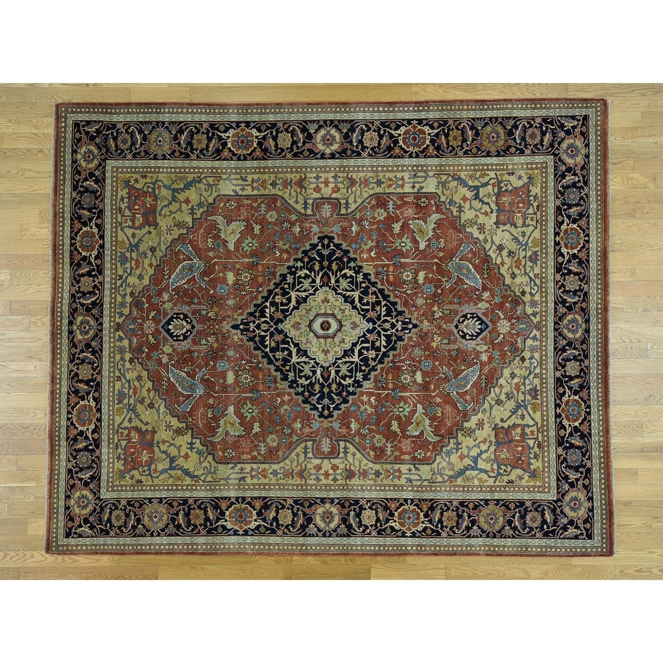 Hand Knotted Red Heriz with Wool Oriental Rug - 8 x 10