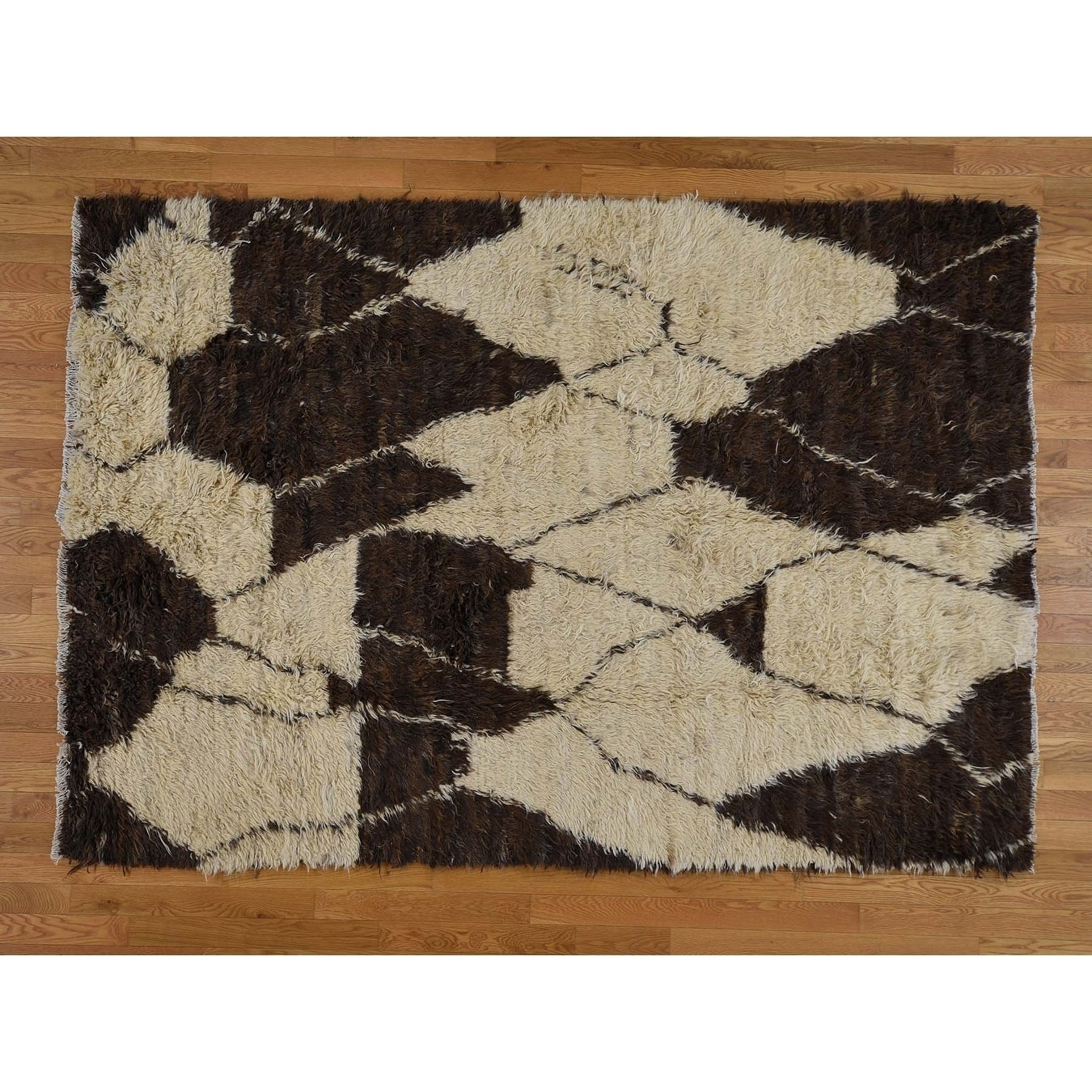 Hand Knotted Ivory Tribal & Geometric with Wool Oriental Rug - 62 x 9