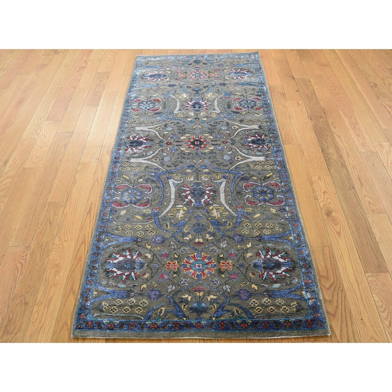 Hand Knotted Brown Fine Oriental with Wool & Silk Oriental Rug - 26 x 6