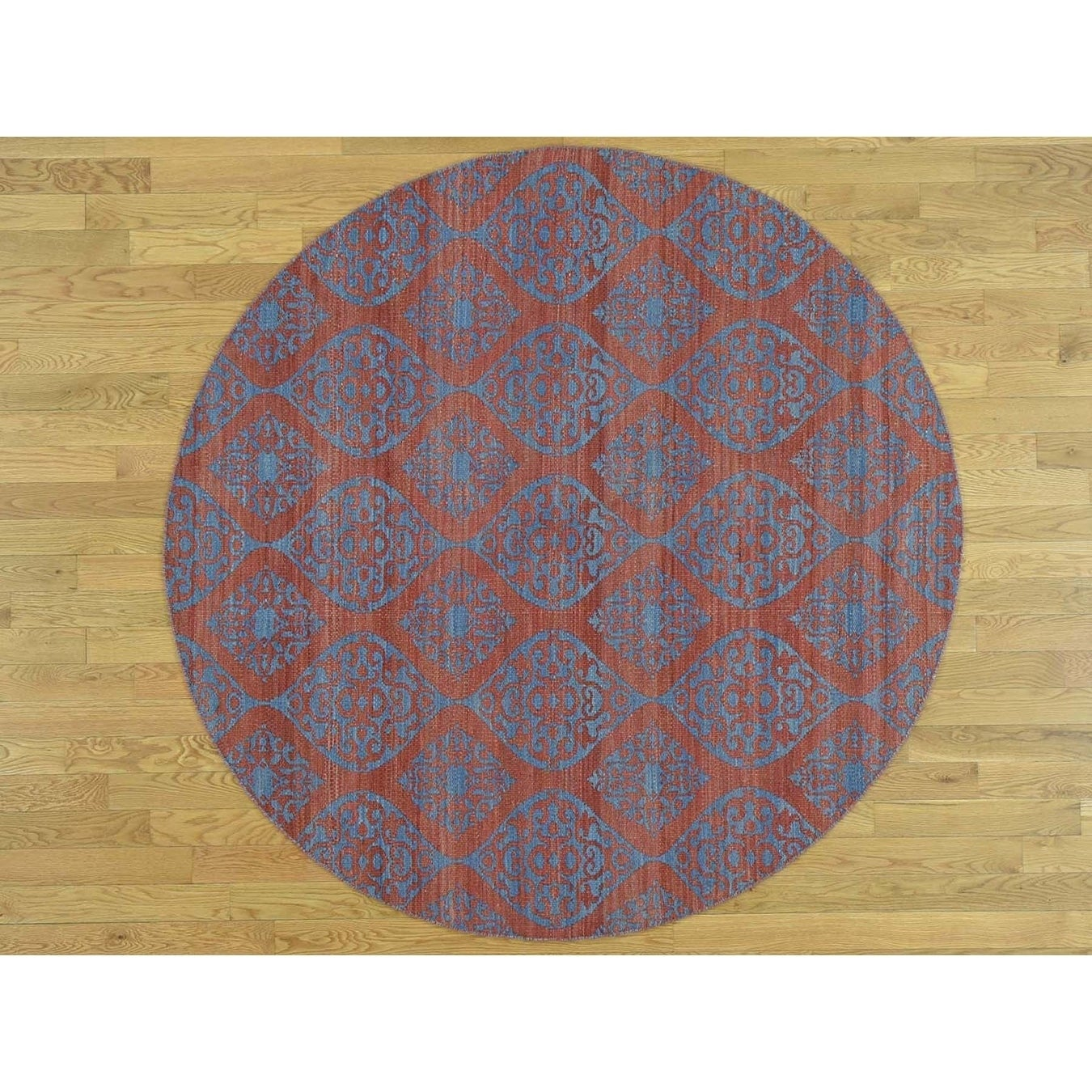 Hand Knotted Pink Flat Weave with Wool Oriental Rug - 8 x 8