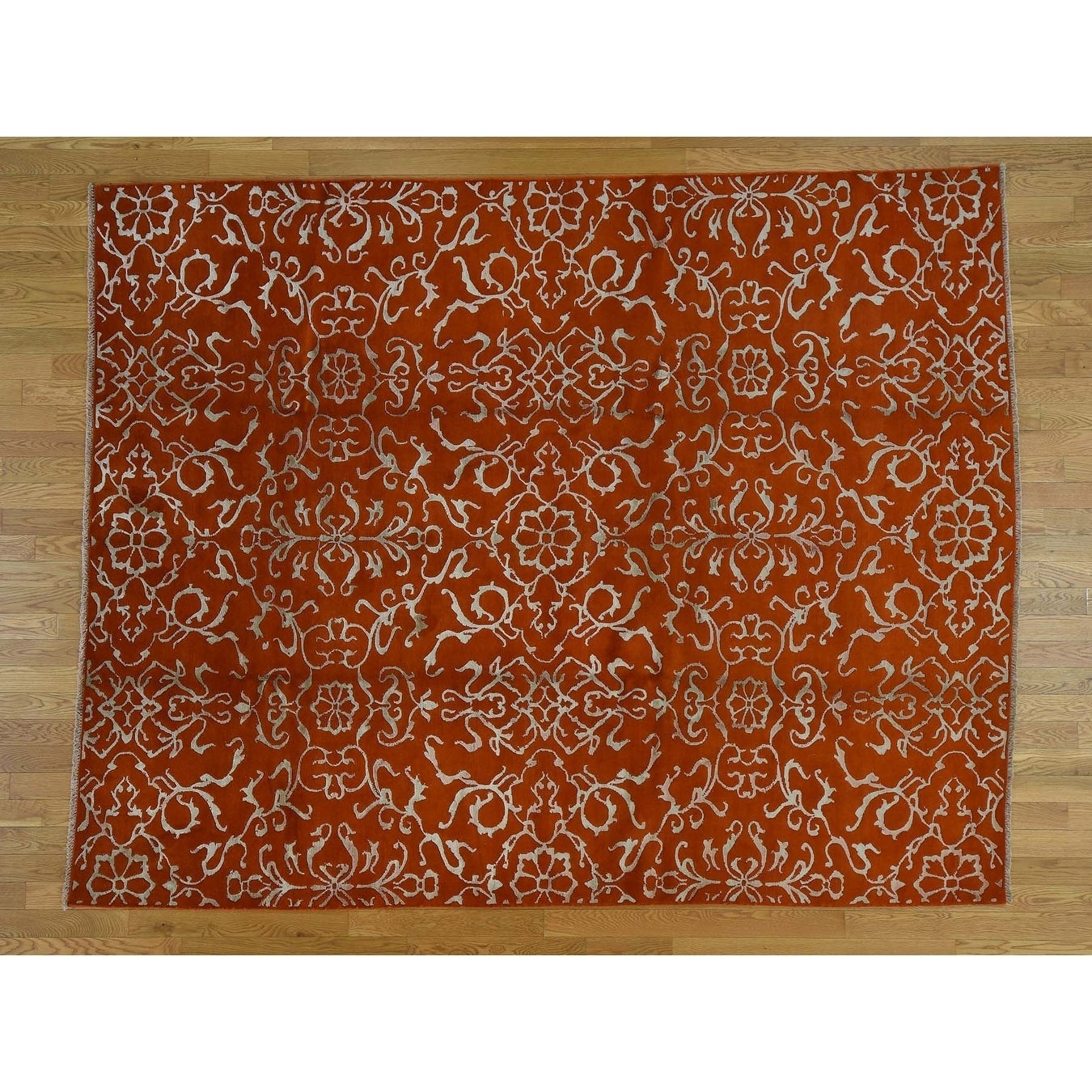 Hand Knotted Orange Modern & Contemporary with Wool & Silk Oriental Rug - 77 x 96