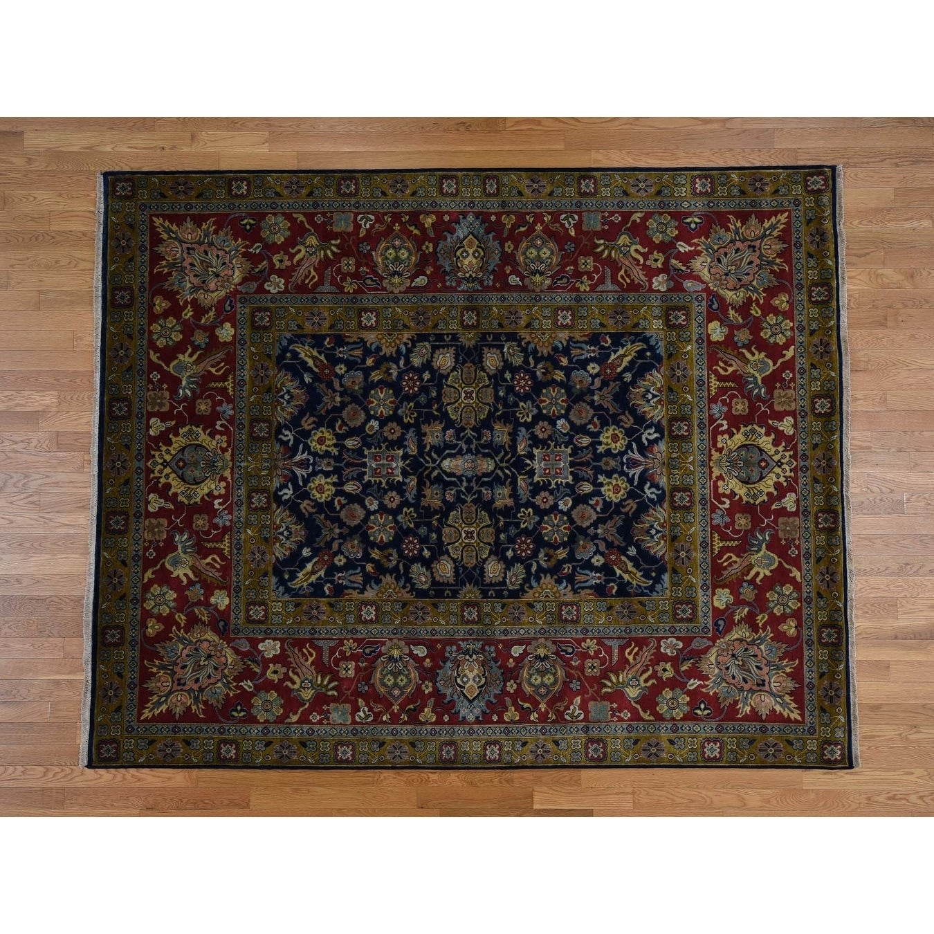 Hand Knotted Blue Fine Oriental with New Zealand Wool Oriental Rug - 91 x 122