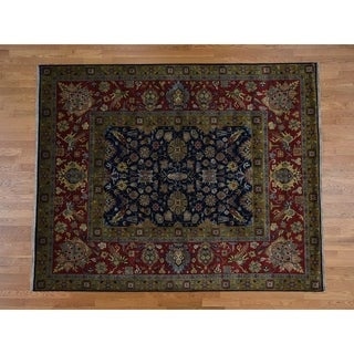 Hand Knotted Blue Fine Oriental with New Zealand Wool Oriental Rug - 9'1 x 12'2