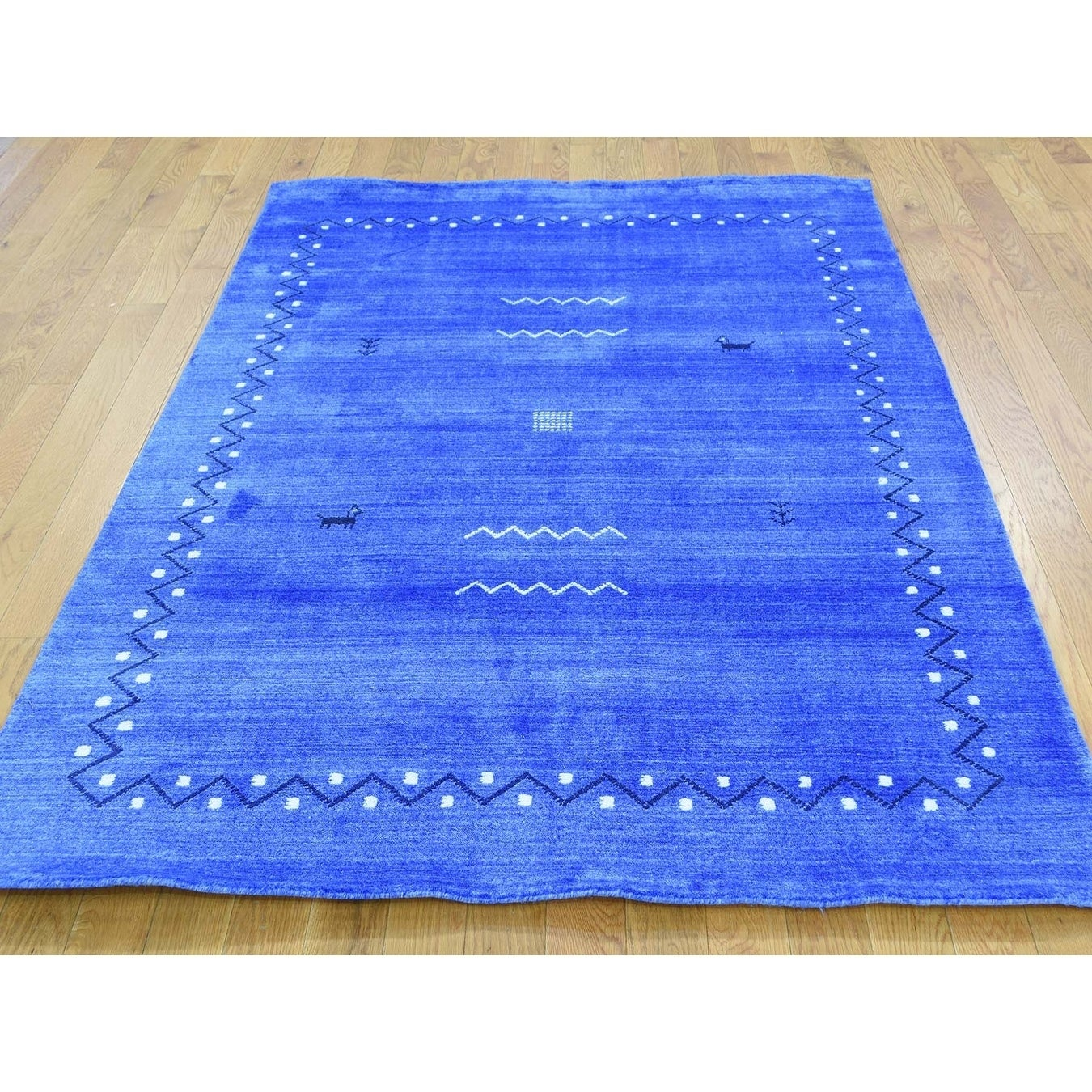 Hand Knotted Blue Modern & Contemporary with Silk Oriental Rug - 5 x 7