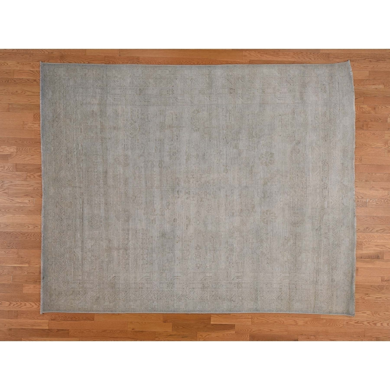 Hand Knotted Blue White Wash Vintage & Silver Wash with Wool Oriental Rug - 710 x 910
