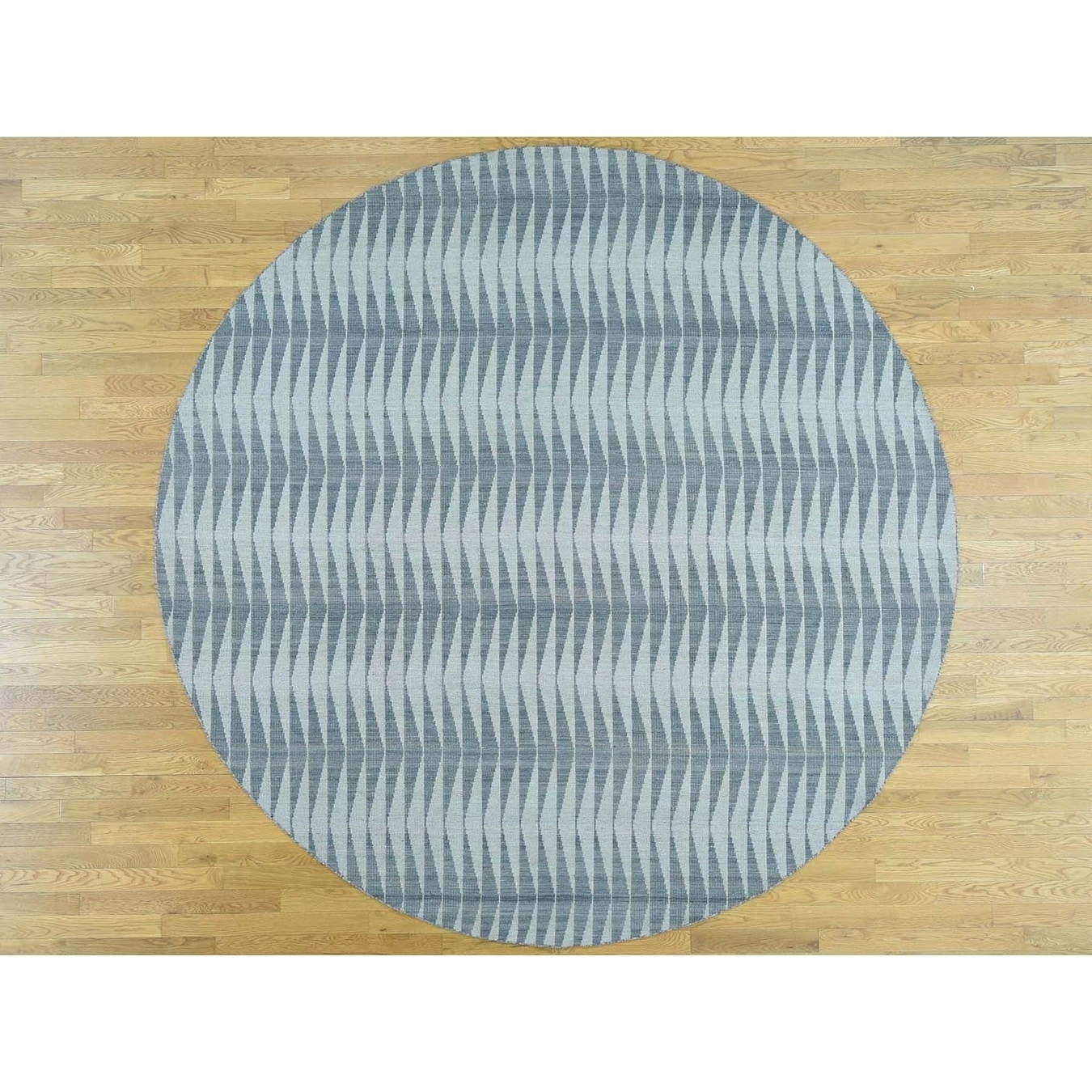 Hand Knotted Grey Flat Weave with Wool Oriental Rug - 910 x 910