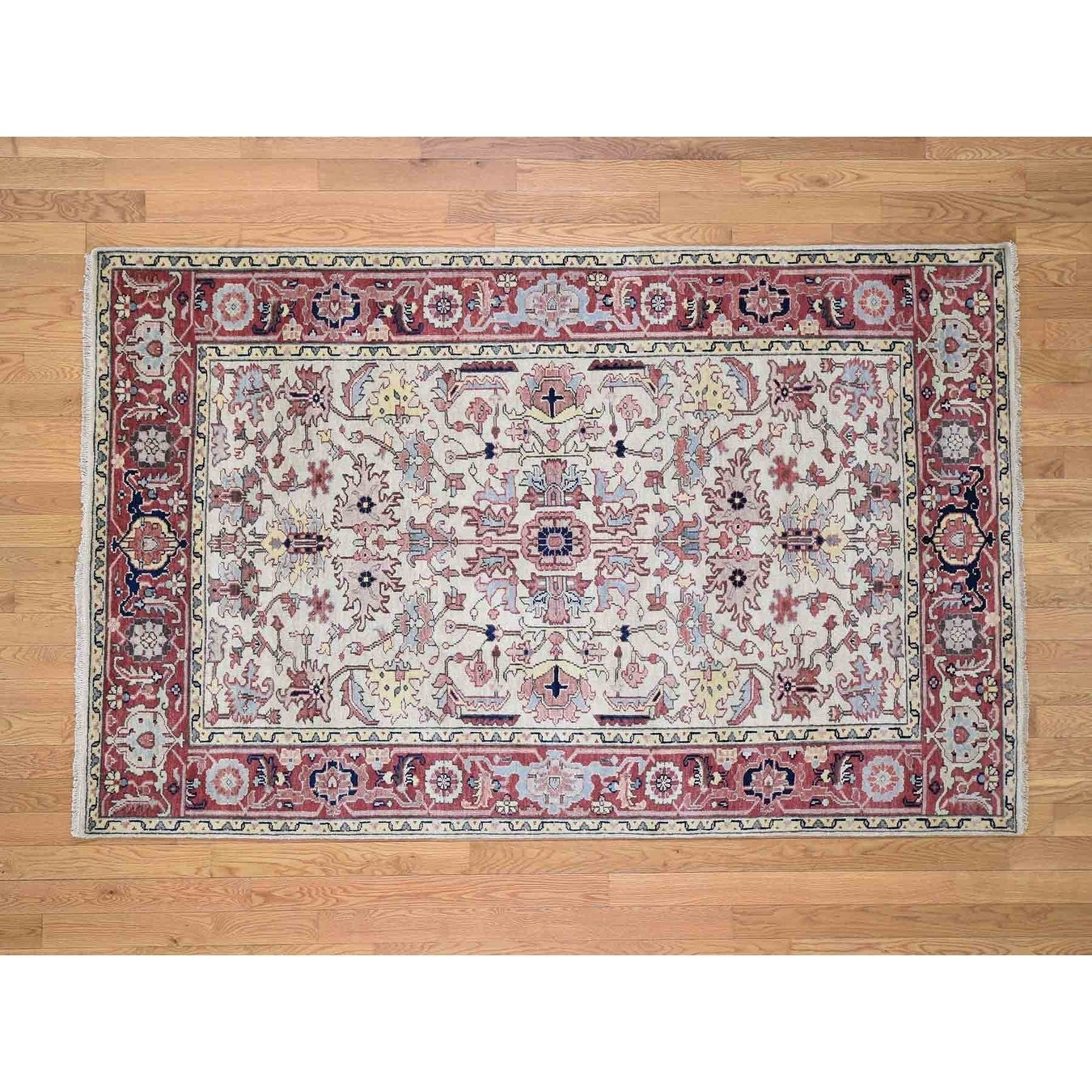 Hand Knotted Ivory Heriz with Wool Oriental Rug - 5 x 79