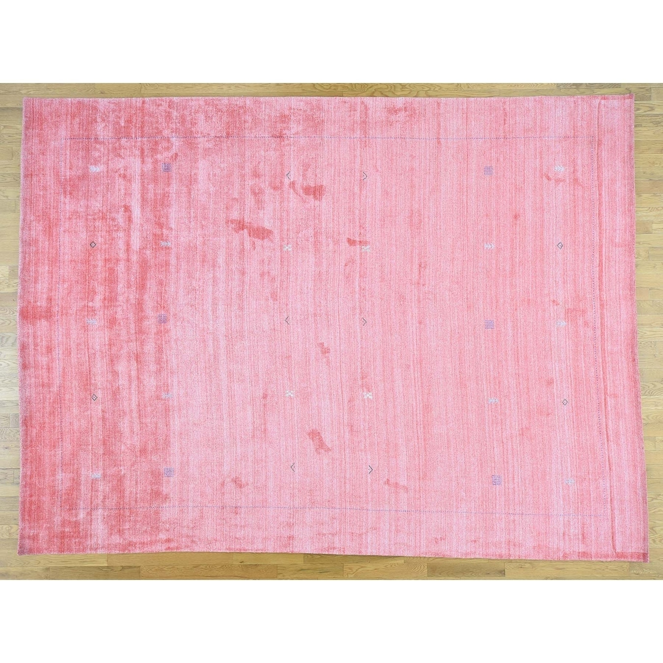 Hand Knotted Pink Modern & Contemporary with Silk Oriental Rug - 101 x 1310