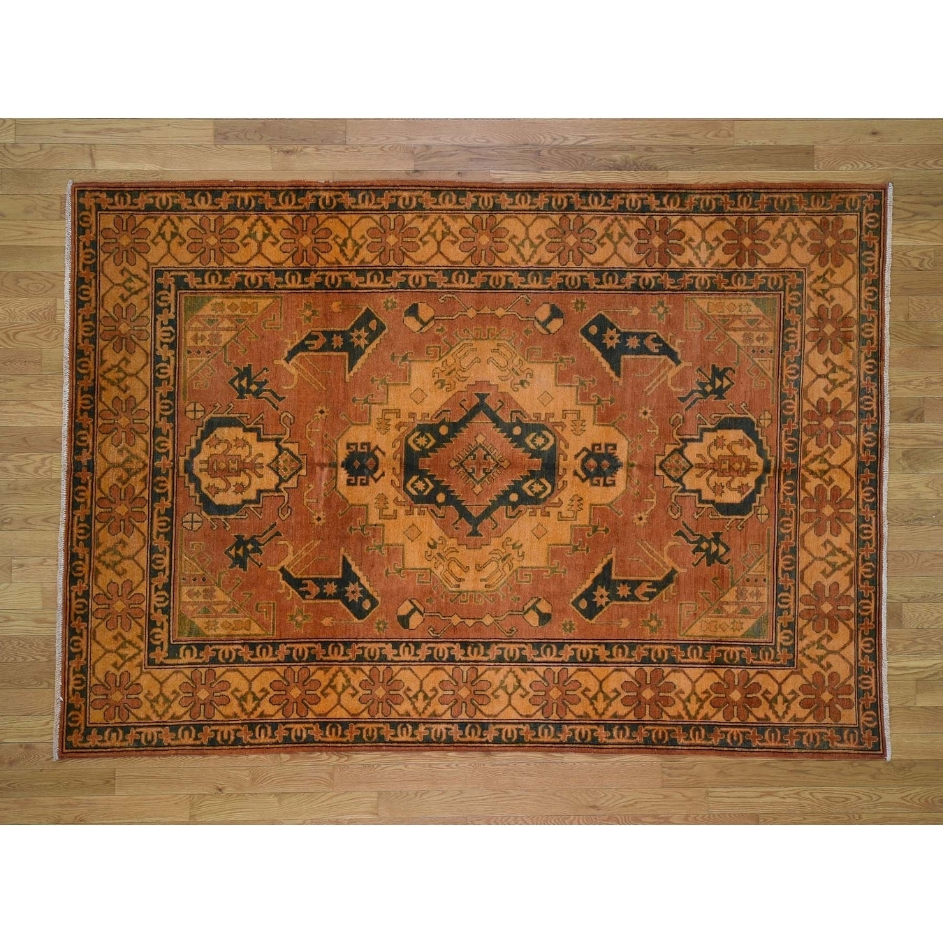 Hand Knotted Orange Kazak with Wool Oriental Rug - 62 x 89