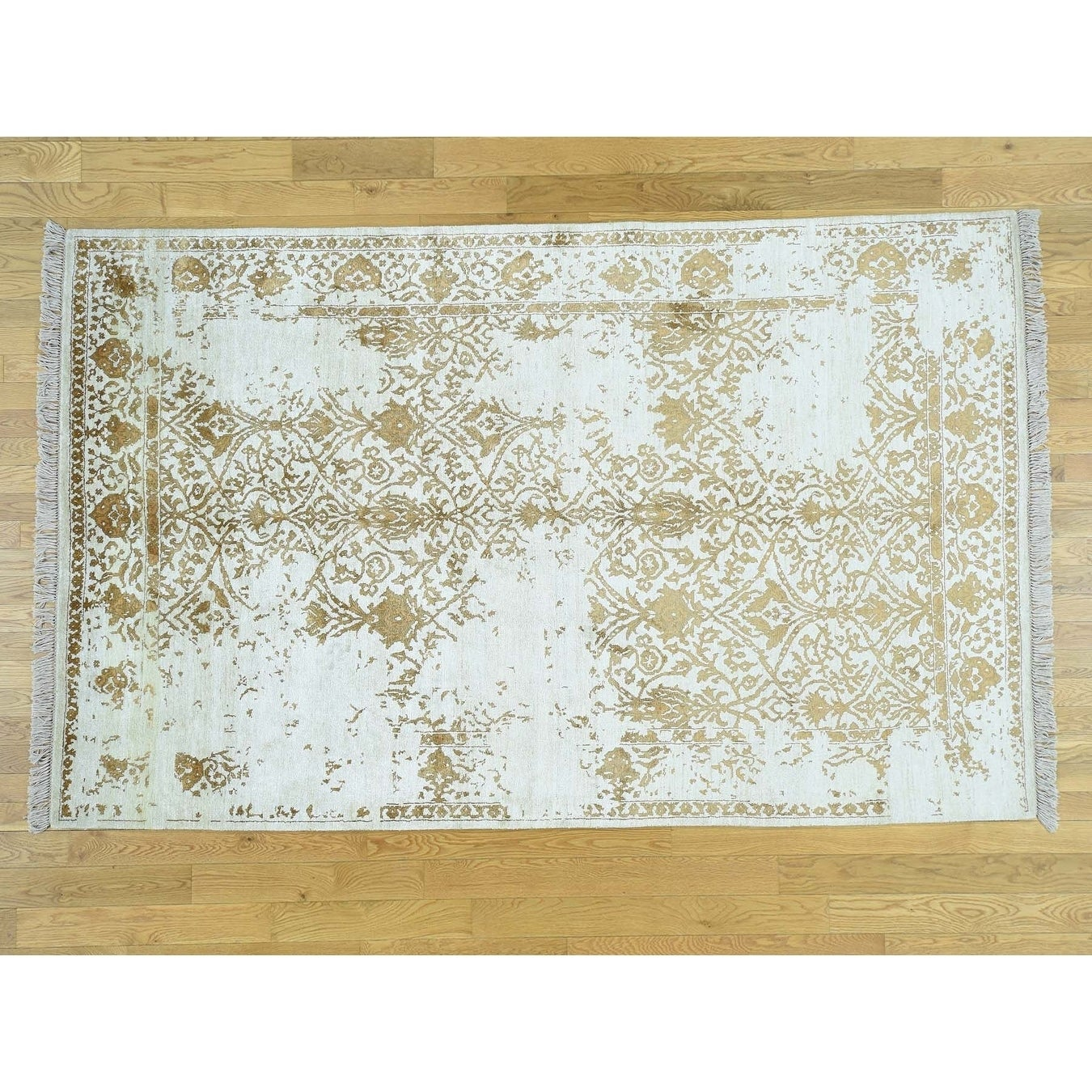 Hand Knotted Ivory Modern & Contemporary with Silk Oriental Rug - 6 x 94