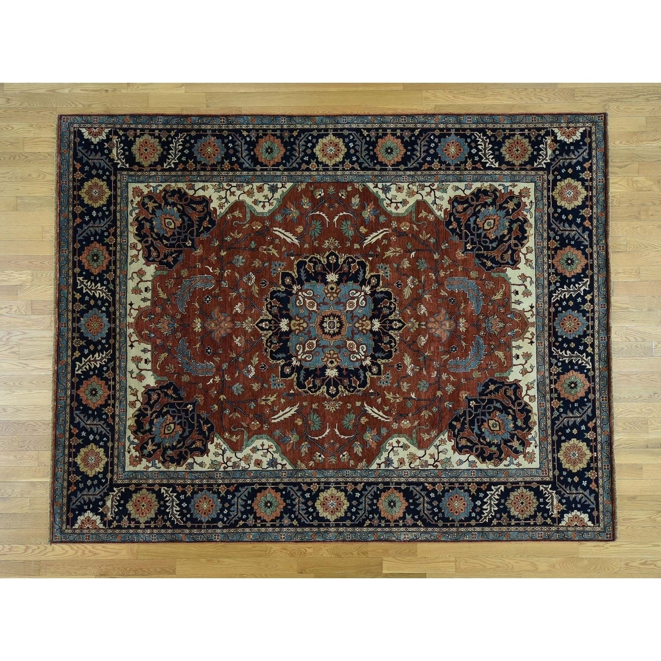 Hand Knotted Red Heriz with Wool Oriental Rug - 78 x 10