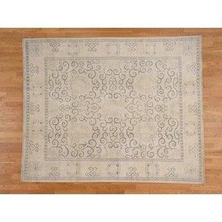 Hand Knotted Beige White Wash Vintage & Silver Wash with Wool Oriental Rug - 8' x 9'8