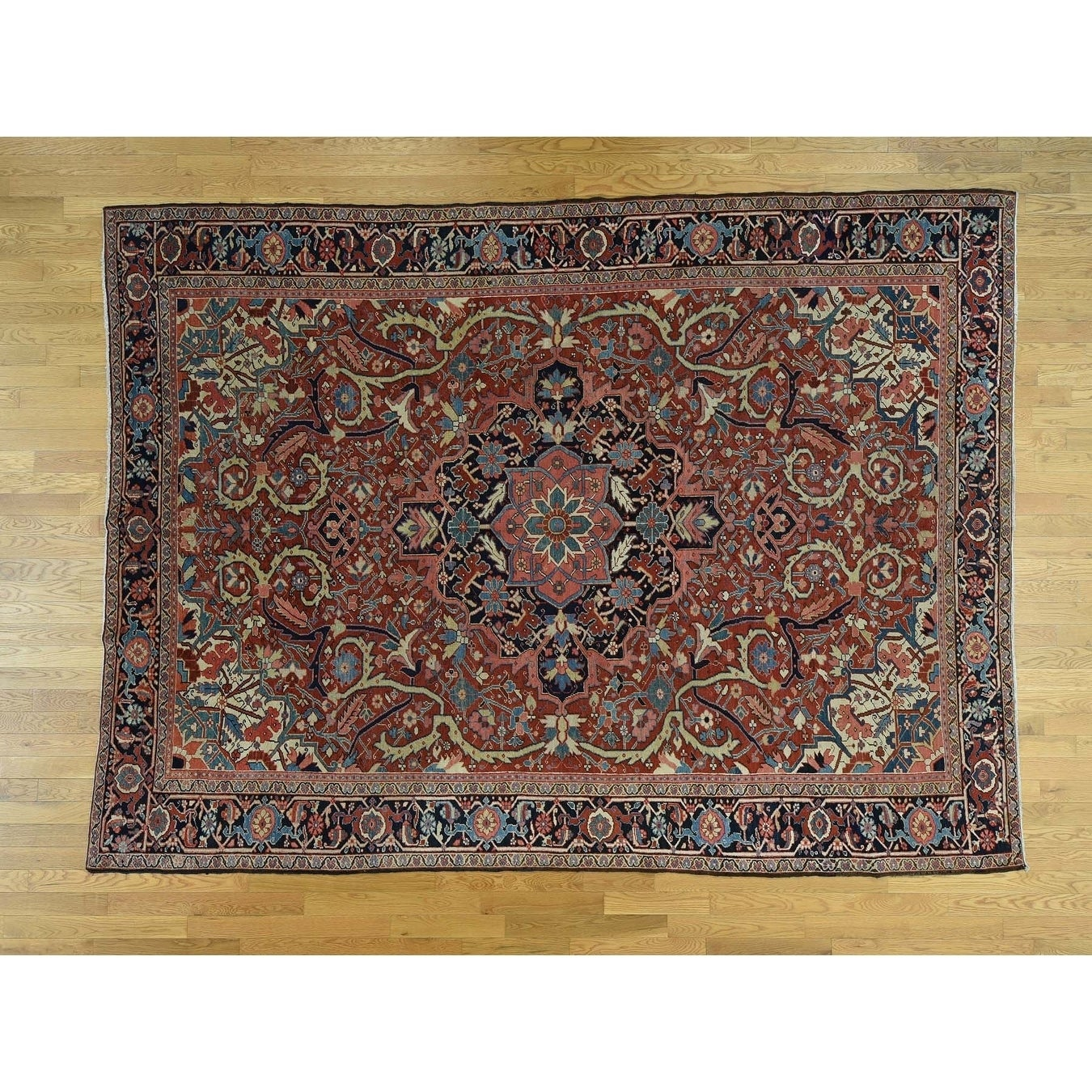 Hand Knotted Red Antique with Wool Oriental Rug - 86 x 117