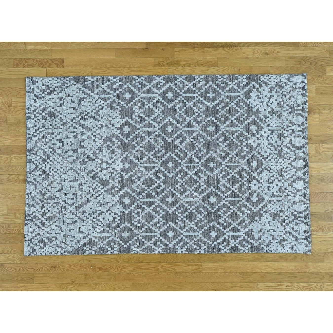 Hand Knotted Grey Modern & Contemporary with Wool Oriental Rug - 5 x 710
