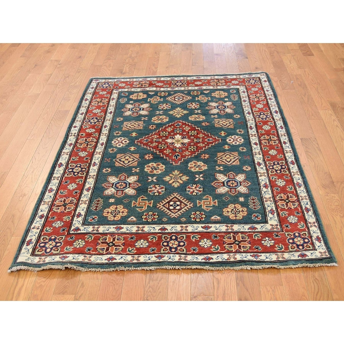 Hand Knotted Green Kazak with Wool Oriental Rug - 41 x 6