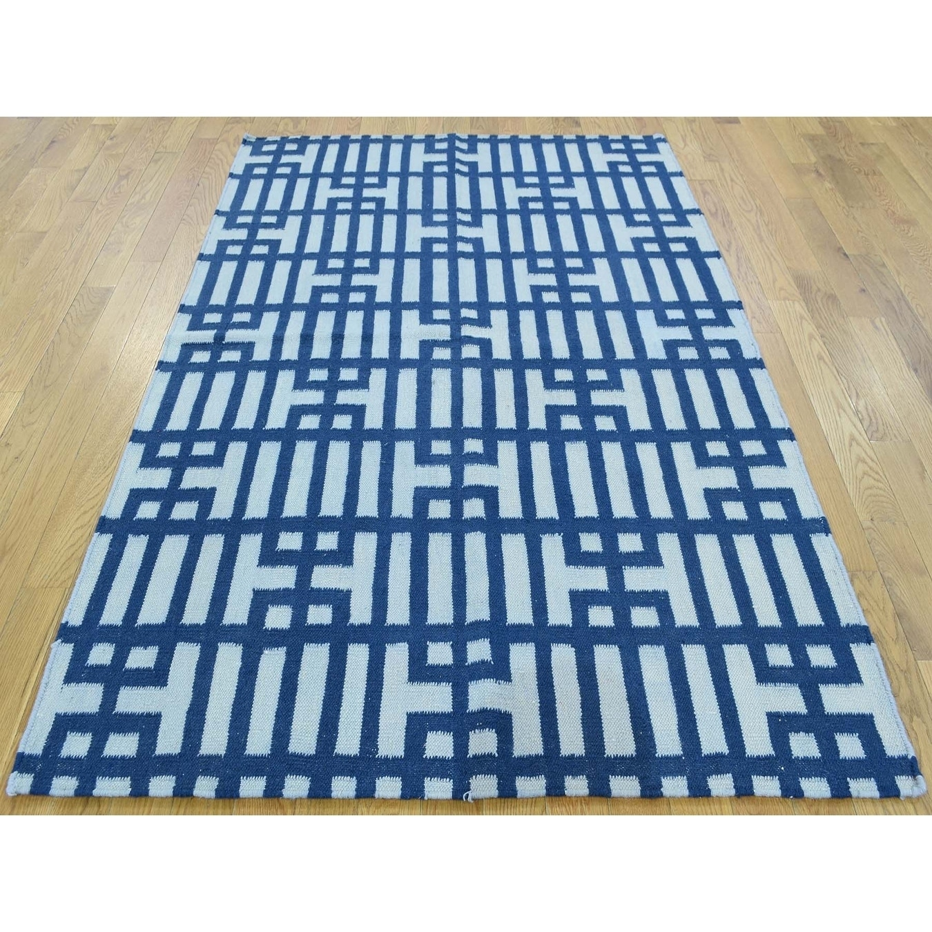 Hand Knotted Blue Flat Weave with Wool Oriental Rug - 42 x 62