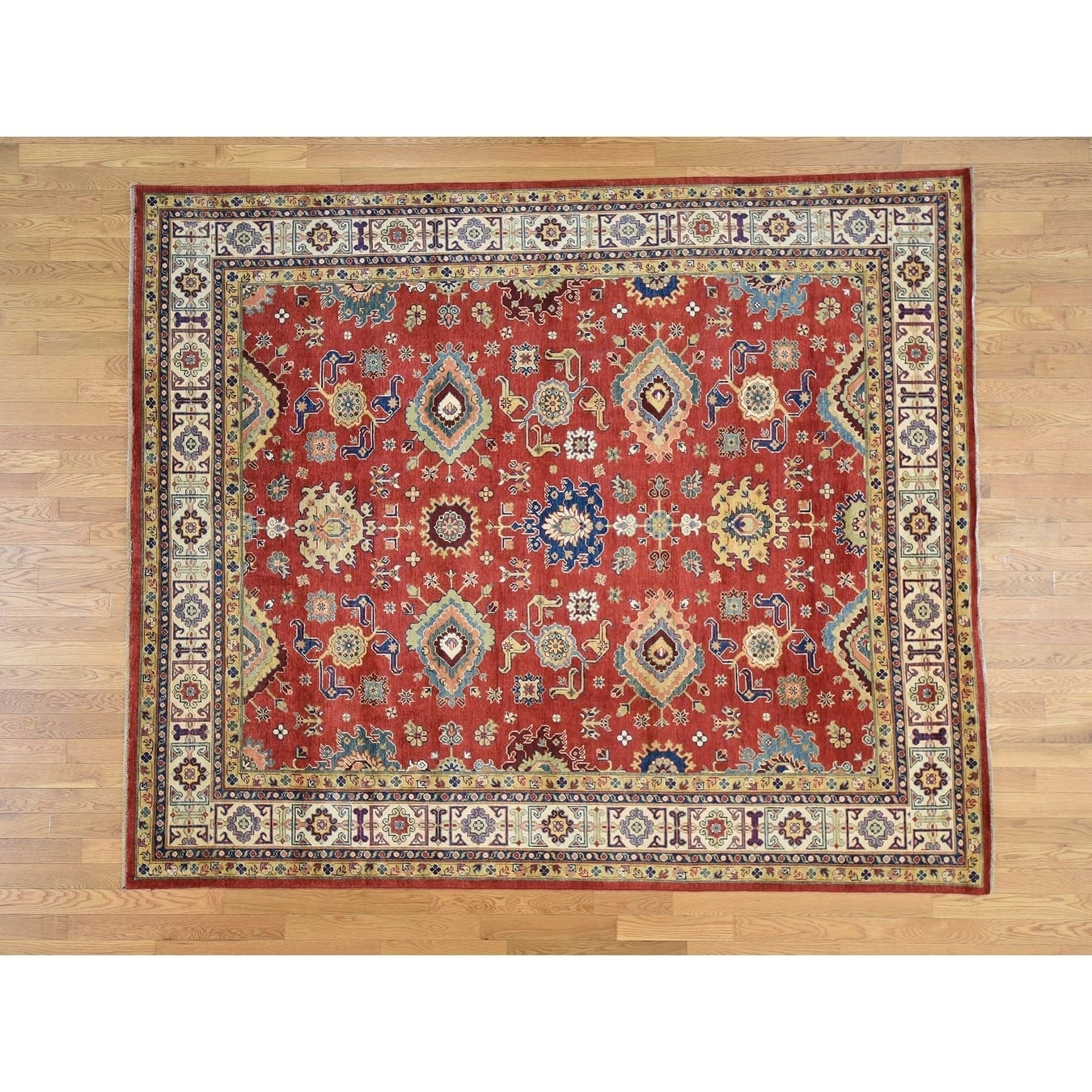 Hand Knotted Red Kazak with Wool Oriental Rug - 81 x 97