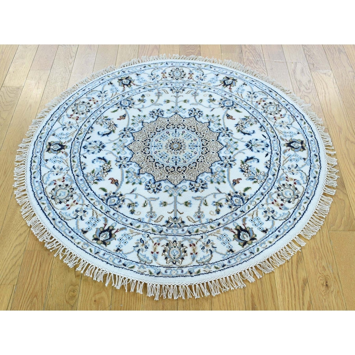 Hand Knotted Ivory Fine Oriental with Wool & Silk Oriental Rug - 41 x 41