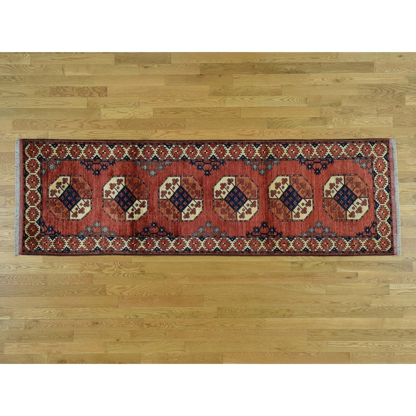 Hand Knotted Red Tribal & Geometric with Wool Oriental Rug - 210 x 9