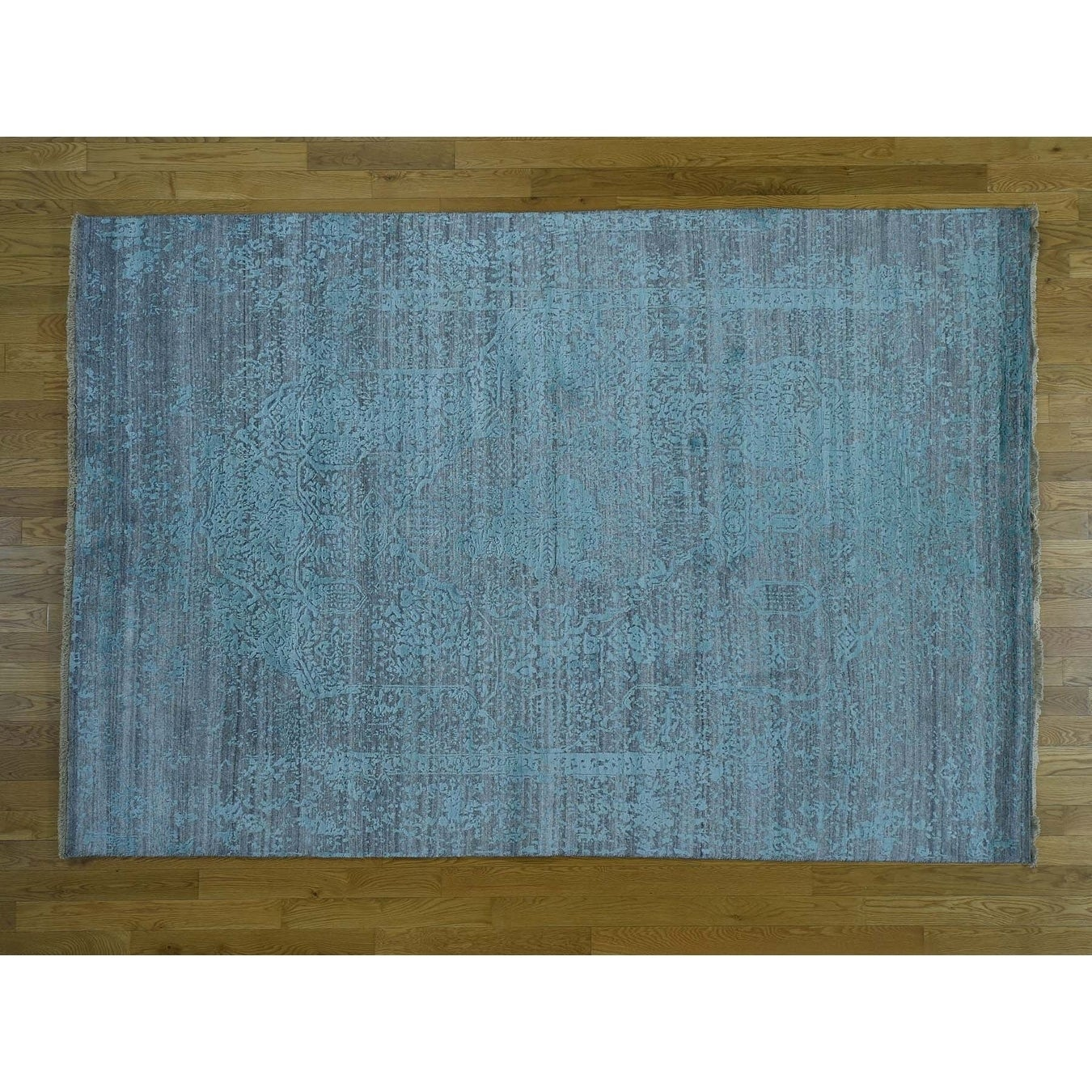Hand Knotted Green Modern & Contemporary with Wool & Silk Oriental Rug - 6 x 9