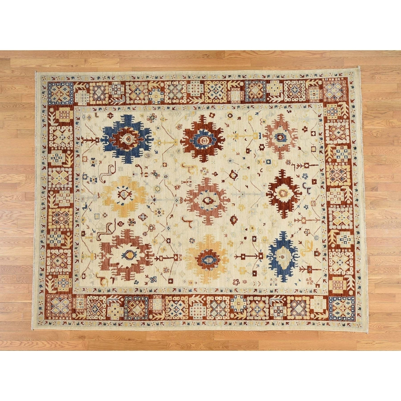 Hand Knotted Ivory Oushak And Peshawar with Wool Oriental Rug - 79 x 99