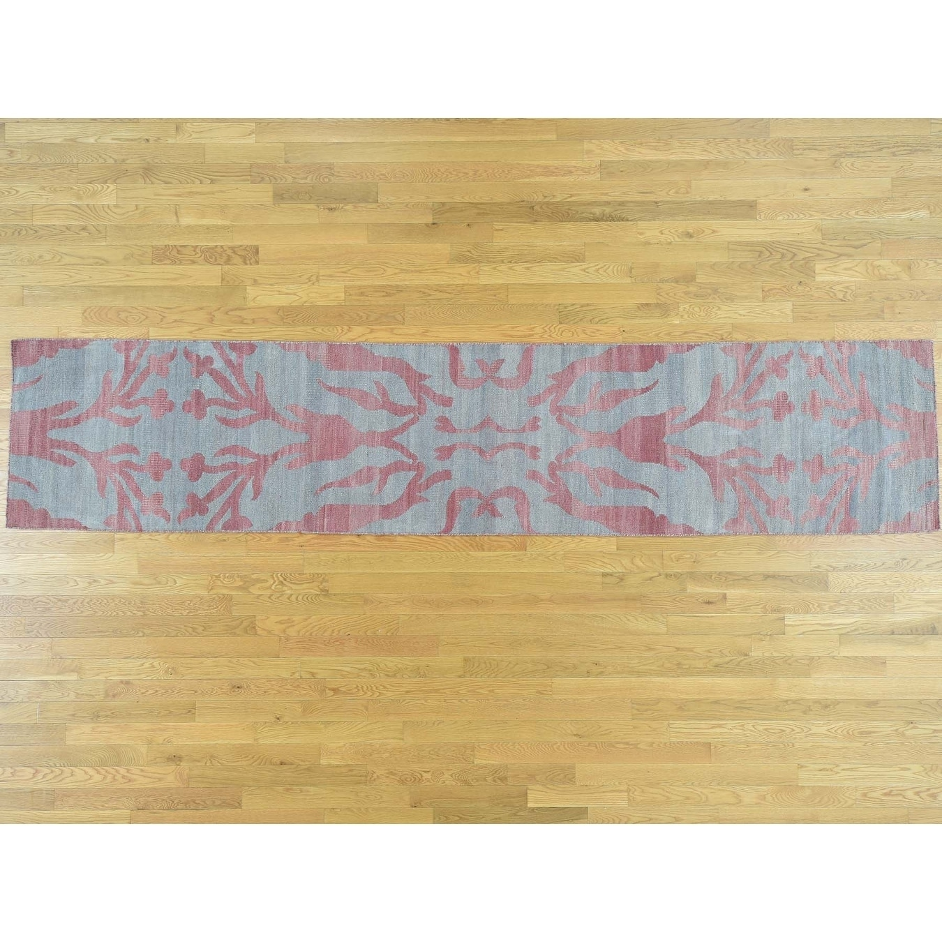 Hand Knotted Blue Flat Weave with Wool Oriental Rug - 26 x 99