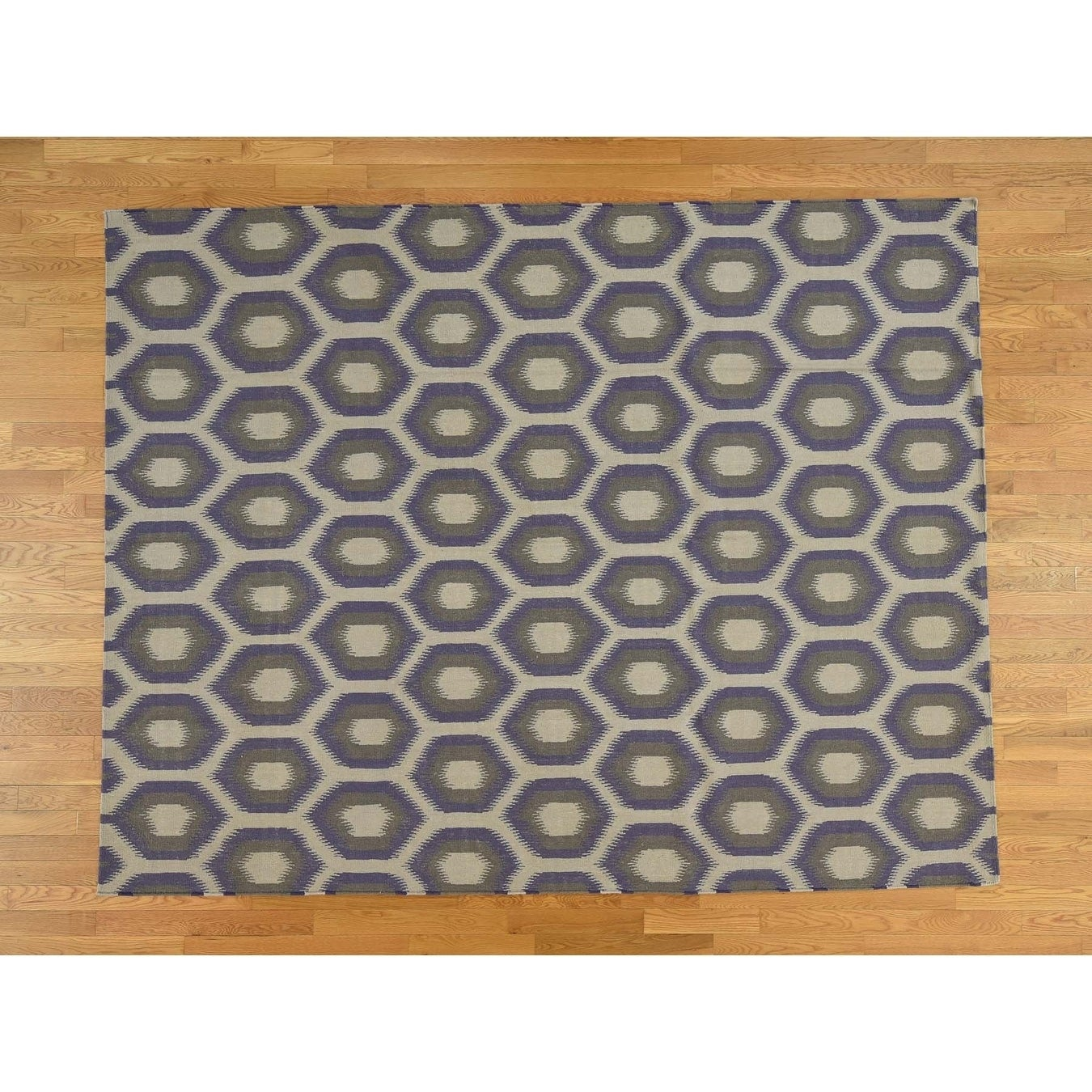 Hand Knotted Ivory Flat Weave with Wool Oriental Rug - 810 x 122