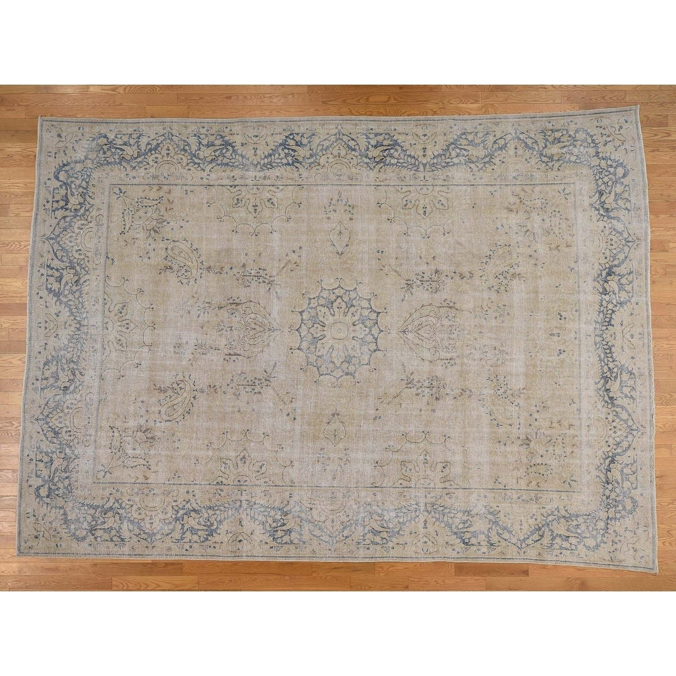 Hand Knotted Beige White Wash Vintage & Silver Wash with Wool Oriental Rug - 910 x 13
