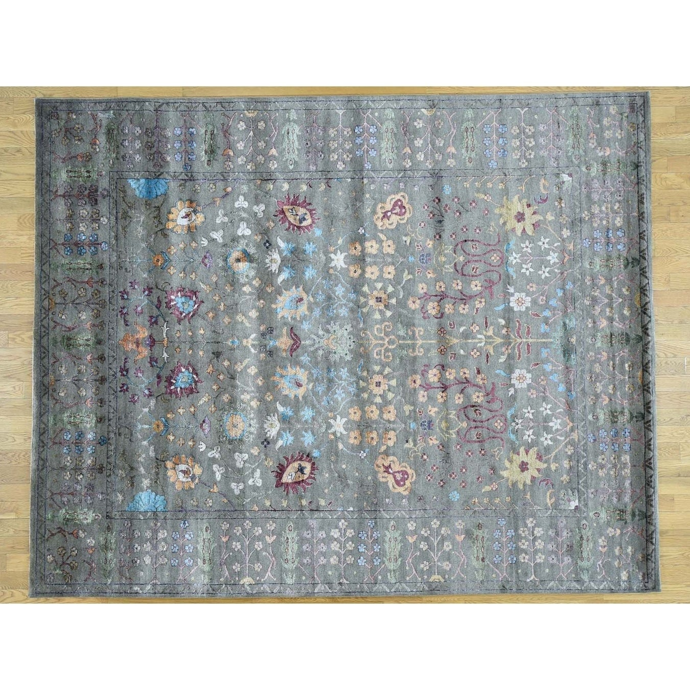 Hand Knotted Grey Arts And Crafts with Wool & Silk Oriental Rug - 9 x 12